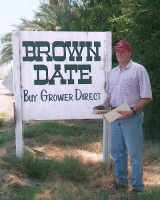 Brown Date Garden sign for packing house